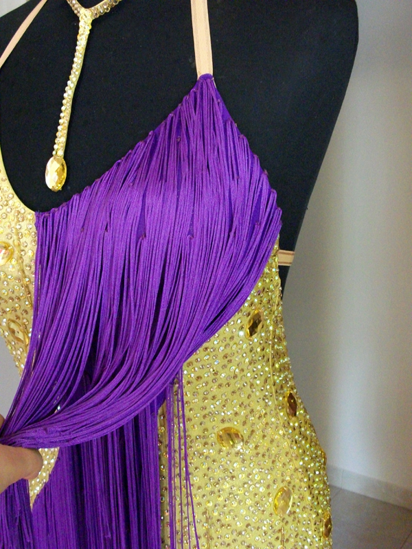 M017 Metallic Golden Purple Latin Dress For Sale Dreamgown