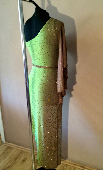 M494 Light Green Brown Latin Dance Dress For Sale Dreamgown
