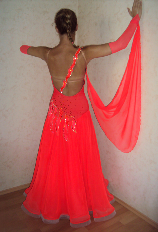 S886 Fluorescent Red Standard Dance Costume For Sale