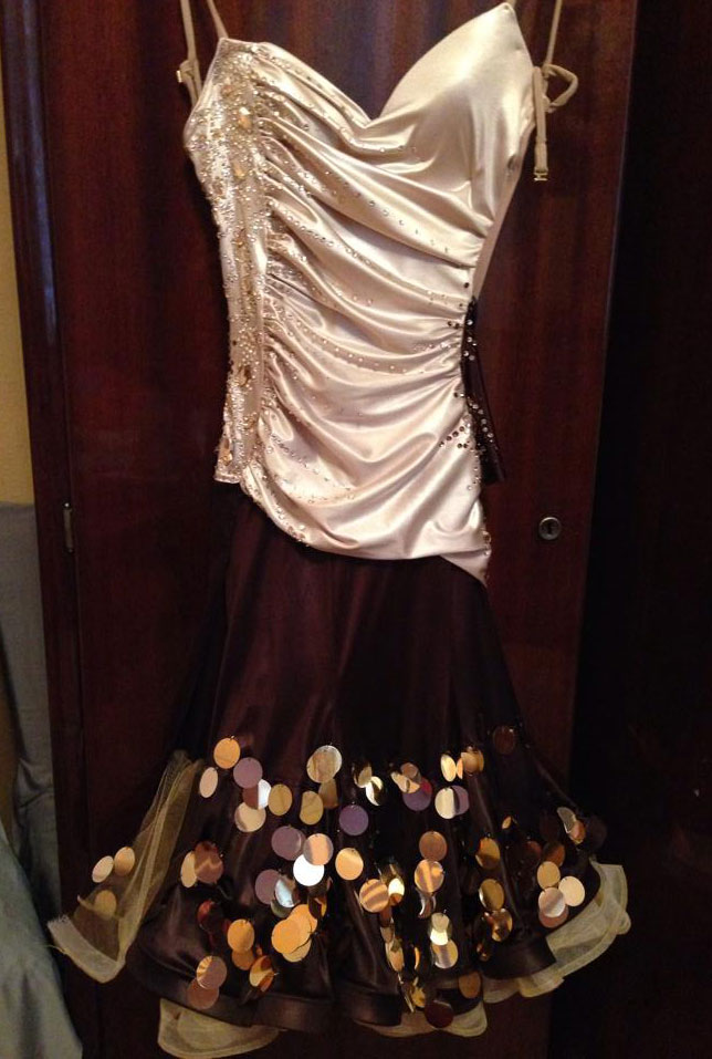 M510 Cream Brown Latin Dance Dress For Sale Dreamgown