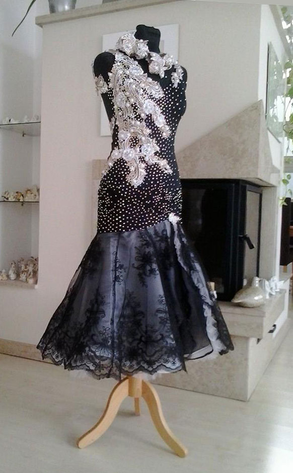 M502 Black And White Latin Dance Dress For Sale Dreamgown