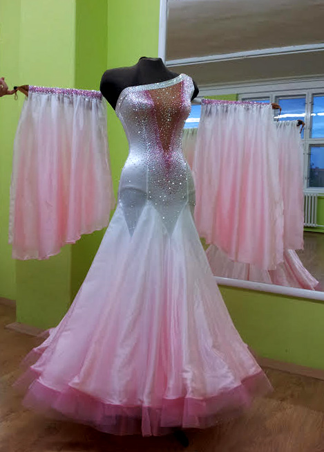 S940 White Sugarpink Shaded Standard Dance Costume For