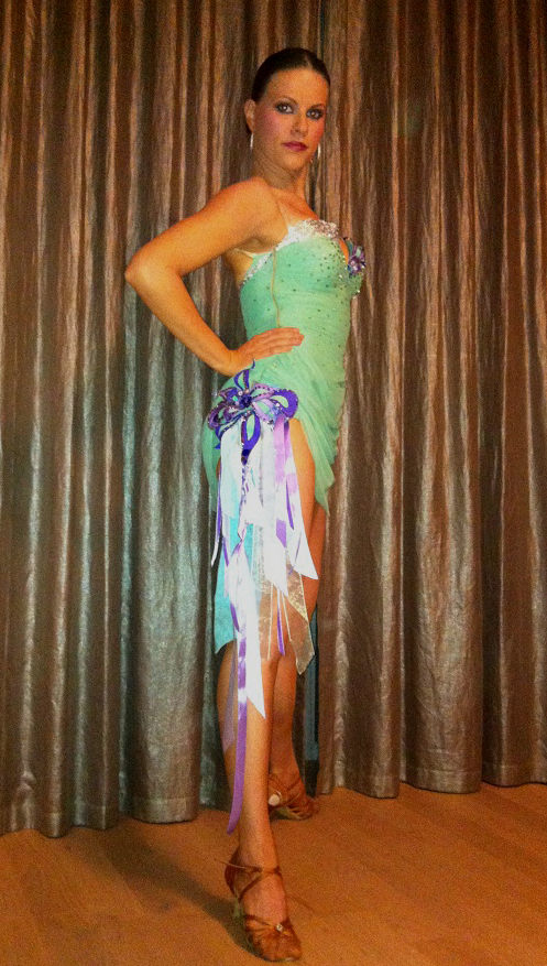 M254 Mint Green Purple Latin Dance Costume For Sale