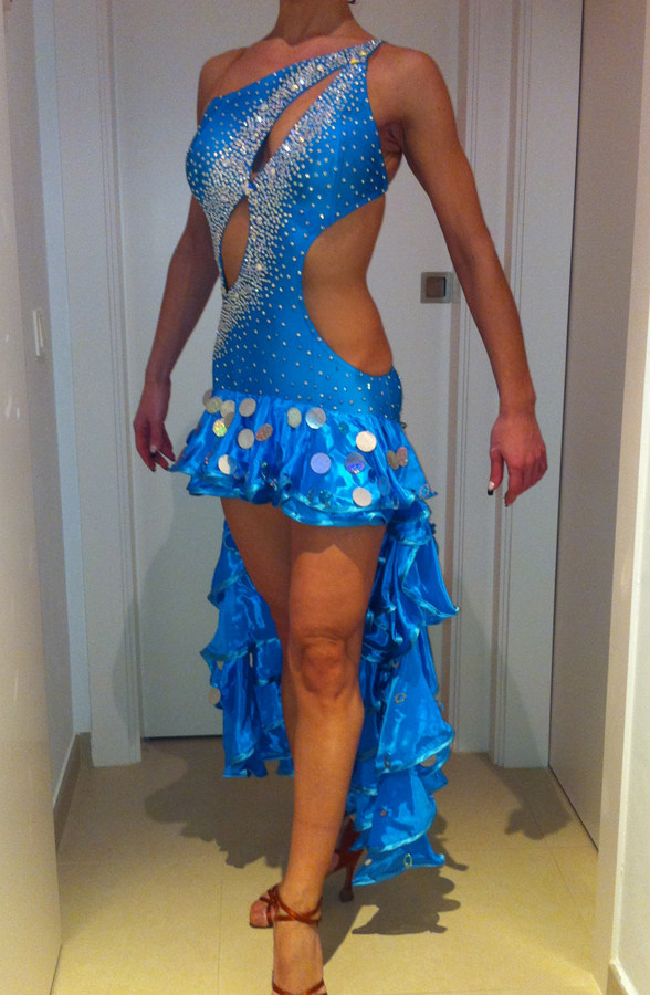 M218 Turquoise Latin Dance Dress for sale - Dreamgown