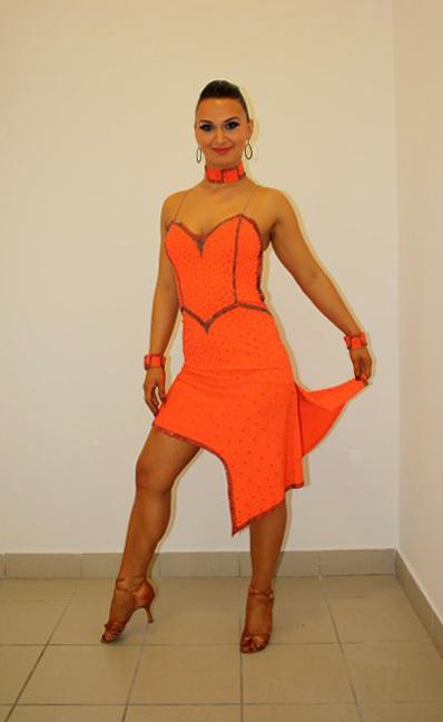 9aea197688 M056 Orange Black Latin Dance Costume for sale - Dreamgown