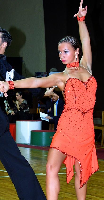M056 Orange Black Latin Dance Costume For Sale Dreamgown