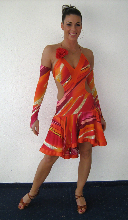 5ee16ee635 M176 Orange Red Latin Dress Dress for sale - Dreamgown