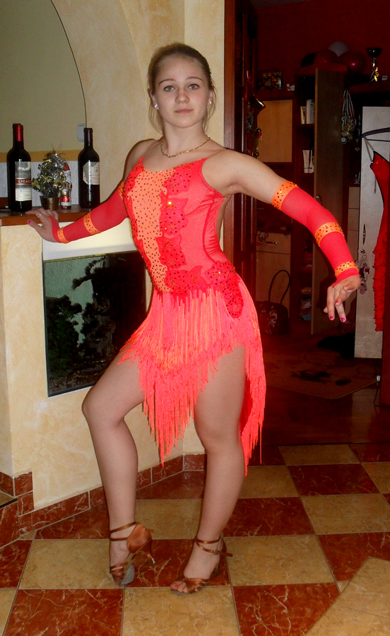 92abeff3aa M272 Fluo red Mango Latin Dance Costume for sale - Dreamgown