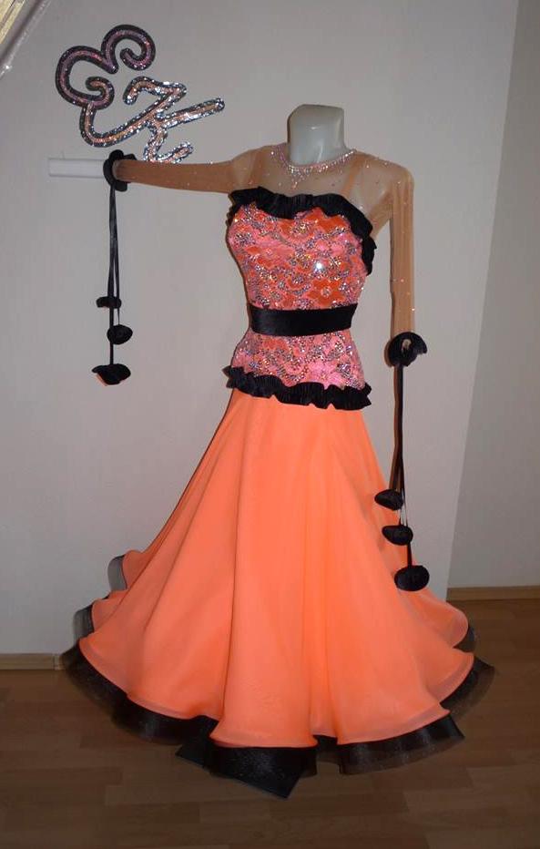 0c8b56cbbf Pink grapefruit black Standard Dance Costume ...