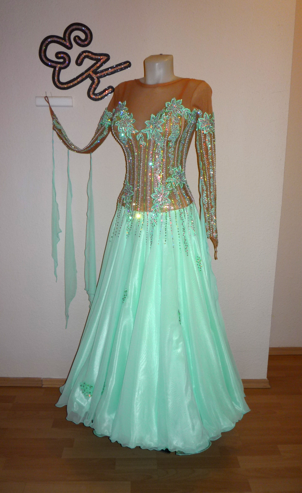 T067 Mint Green Flesh Standard Dance Costume For Sale